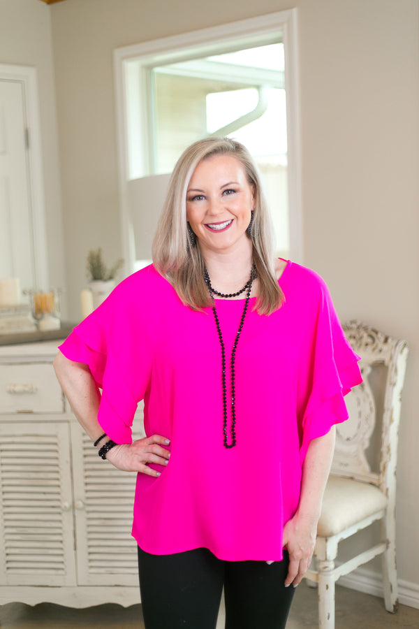 basic needs Women's trendy plus size boutique clothing solid ruffle shirt top blouse affordable umgee hot pink fuchsia