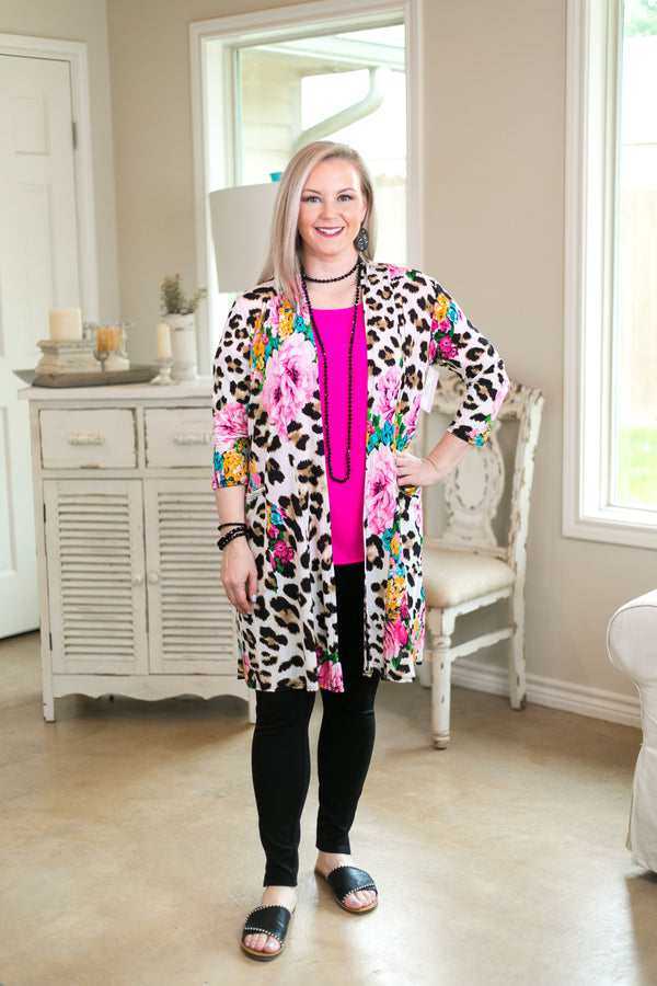 Hear My Roar Women's trendy plus size boutique clothing affordable cardigan kimono cover up duster leopard cheetah print floral hot pink