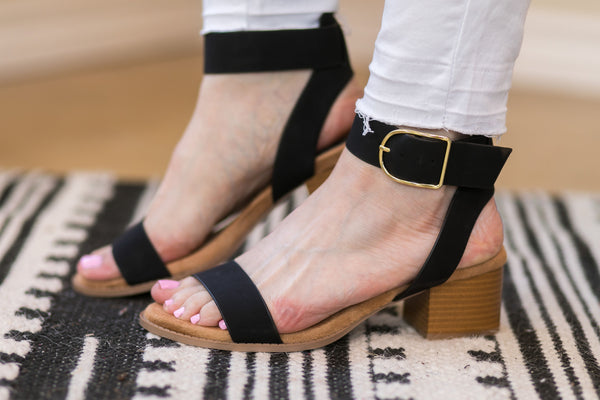 Take Your Step Ankle Strap Heeled Sandals in Black - Size 11 Left!