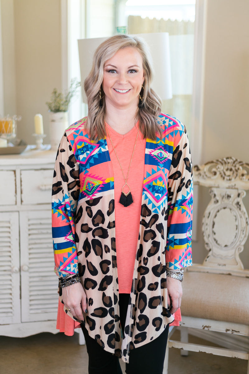 women's plus size boutique aztec leopard cheetah kimono cover up cardigan trendy
