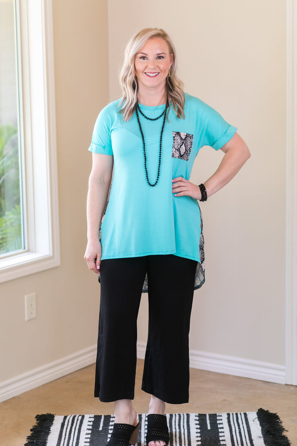 What A Charmer Pocket High Low Short Sleeve Top with Snakeskin Detail in Turquoise