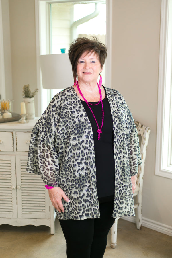 brighten your day Women's trendy plus size boutique clothing affordable cardigan kimono cover up duster leopard cheetah print snow leopard
