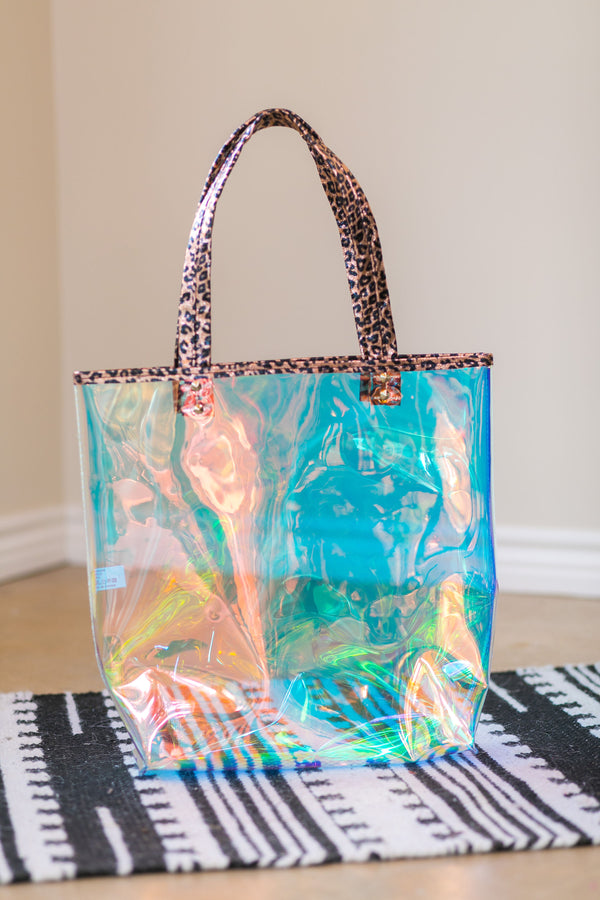 Clear Hologram Tote Bag with Metallic Leopard Trim in Rose Gold