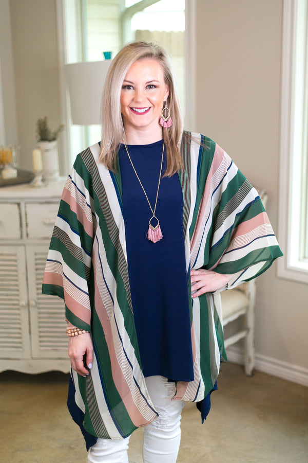 All Your Focus Women's trendy plus size boutique clothing affordable stripe striped print kimono duster sheer cover up multi color She + sky green light pink coral ivory
