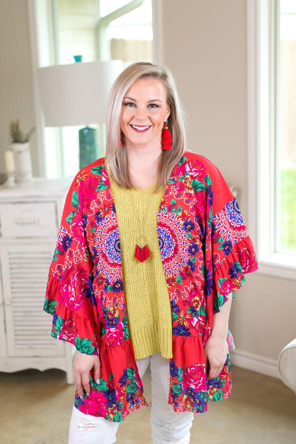 havana heartbeat Women's trendy plus size boutique clothing affordable floral print kimono duster sheer cover up with ruffle sleeves coral hot pink umgee