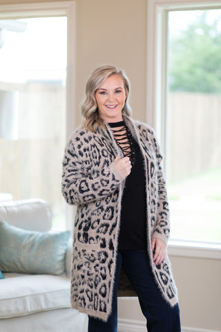 Cozy Chic Leopard Eyelash Cardigan in Mocha