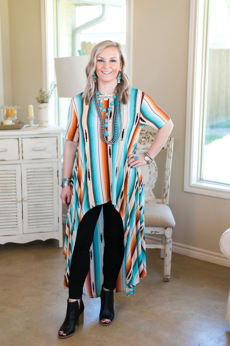 Don't Think Twice High Low Short Sleeve Top in Serape
