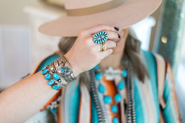 Pamela Benally Cluster Genuine Sterling Silver Indian Handcrafted white buffalo sleeping beauty dry creek royston kingman turquoise carico lake earrings bracelets necklace ring heritage style turquoise & co