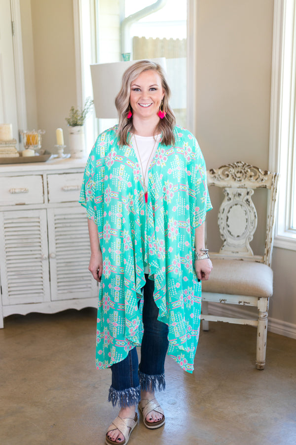 women's plus size sheer kimono duster cover up cardigan sweater boutique trendy affordable cheap clearance sale markdown aztec print mint green neon pink