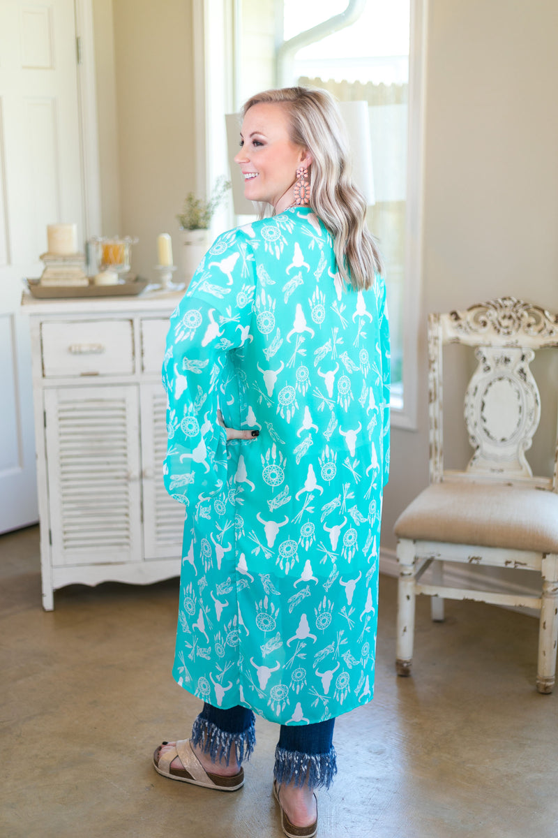 Online Exclusive | Tell Your Tale Bullhead & Dream Catcher Sheer Kimono in Turquoise Mint