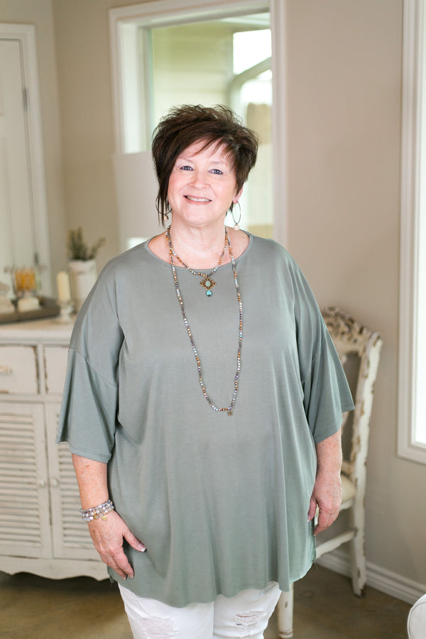 she+sky Back to the basics plus size missy affordable trendy boutique solid everyday top super soft modal comfortable travel sage green