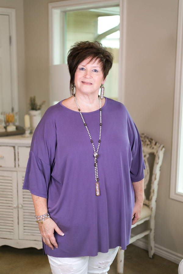 she+sky Back to the basics plus size missy affordable trendy boutique solid everyday top super soft modal comfortable travel dusty light purple