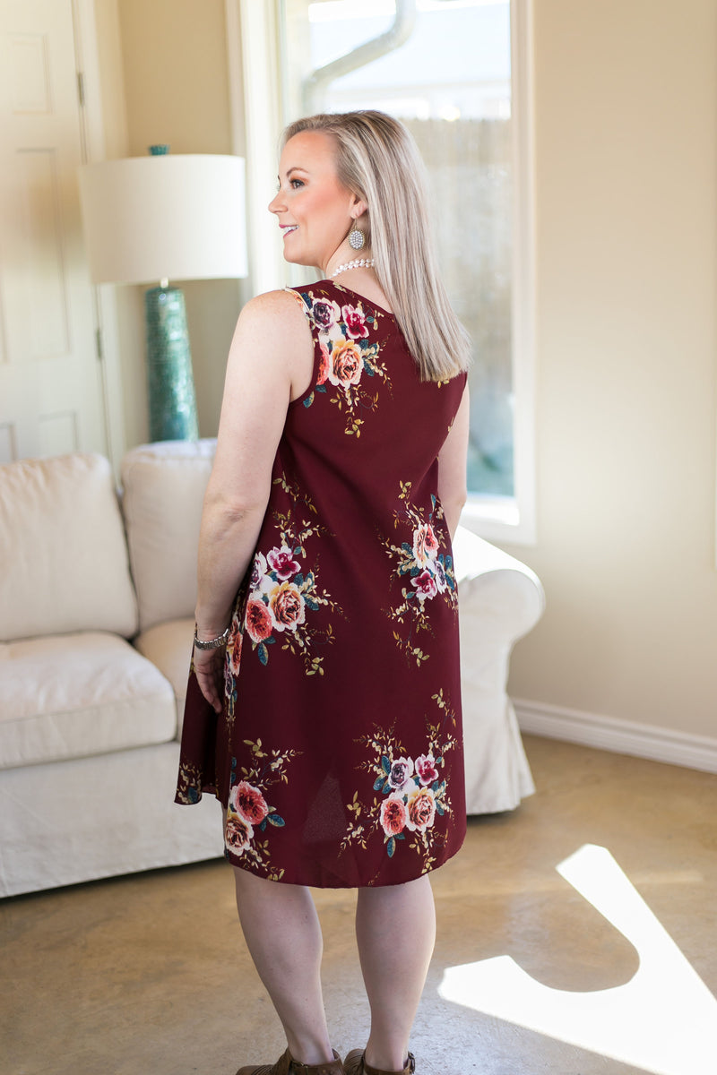 What I'm About Floral A Line Dress in Maroon