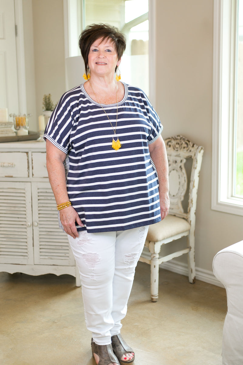 Umgee Notice Me Mixed Stripe Short Sleeve Top with Ruffled Hem in Heather Navy Blue Women's trendy plus size boutique clothing affordable striped