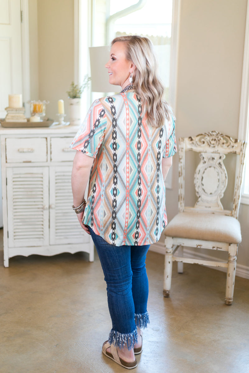 Just Right Short Sleeve Pocket Tee in Coral & Mint Aztec