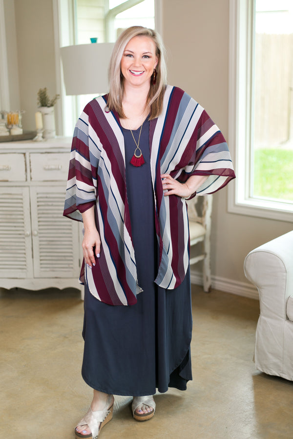 All Your Focus Women's trendy plus size boutique clothing affordable stripe striped print kimono duster sheer cover up multi color She + sky burgundy maroon charcoal grey ivory