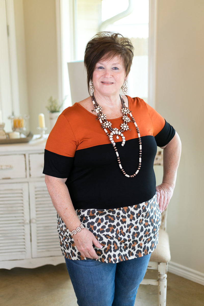 Stop For Nothing Leopard Print Color Block Top with Buttons in Rust Orange