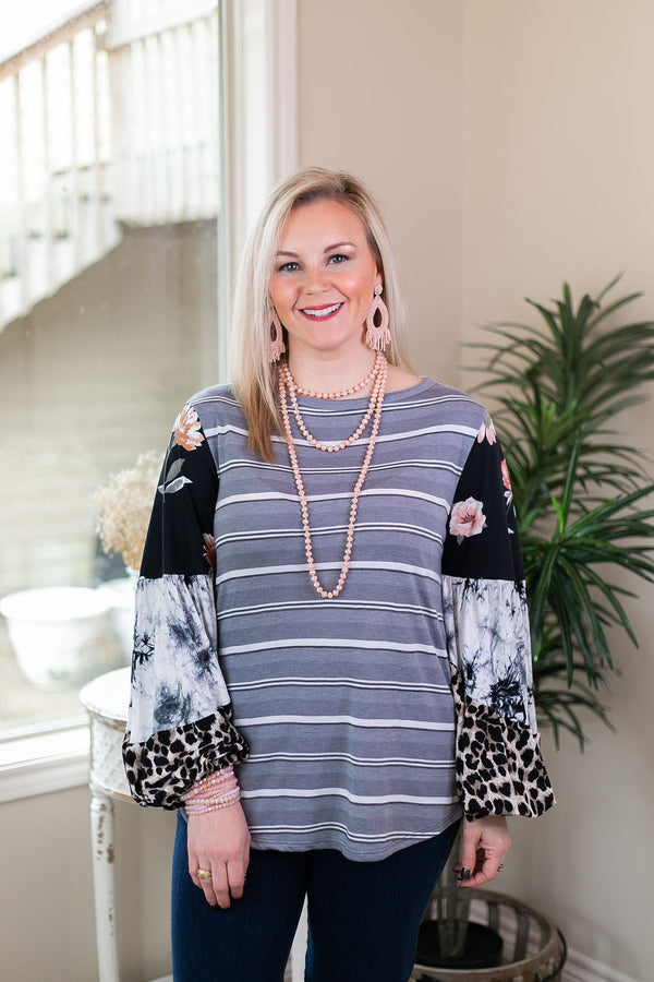 No Looking Back Striped Top with Multi Print Puff Sleeves in Black and Grey