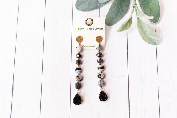 Druzy Stone Dangle Earrings in Black