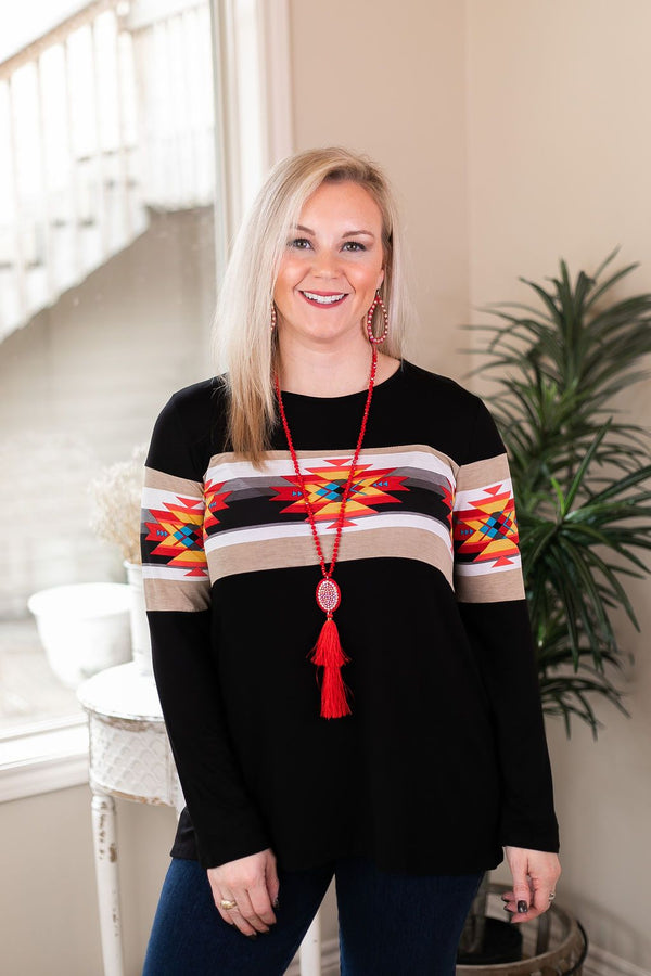 One Way Ticket West Aztec Bust Long Sleeve Top in Black