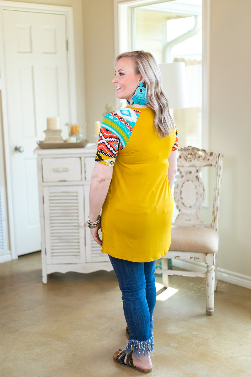 Forever Different Aztec Sleeve Top with Buttons in Mustard Yellow