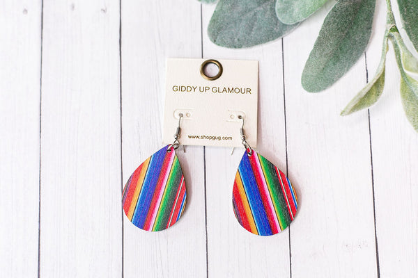 Wooden Teardrop Earrings in Multicolored Serape