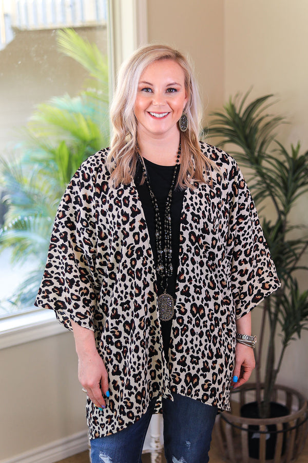 Spotted in the Crowd Leopard Print Kimono in Taupe Ivory