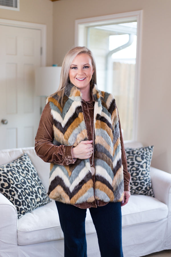 Out of Nowhere Multicolored Faux Fur Vest in Mocha