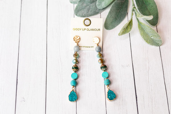 Druzy Stone Dangle Earrings in Turquoise
