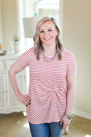 Knot Today Striped Short Sleeve Top with Knot Detail in Red