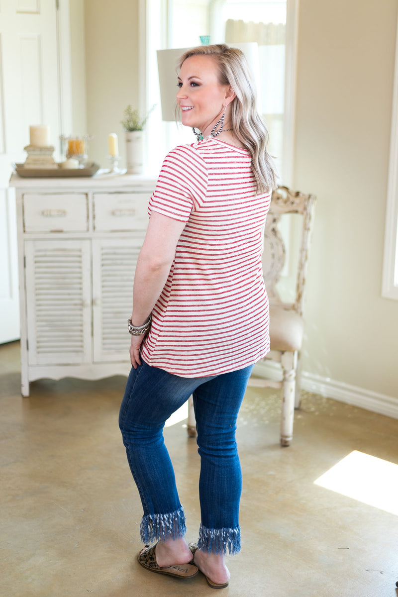 women's plus size stripe red knot tee top shirt boutique trendy striped stripes 4th of July