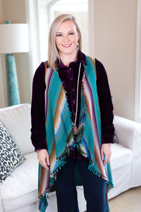Simply Iconic Distressed Serape Vest in Turquoise