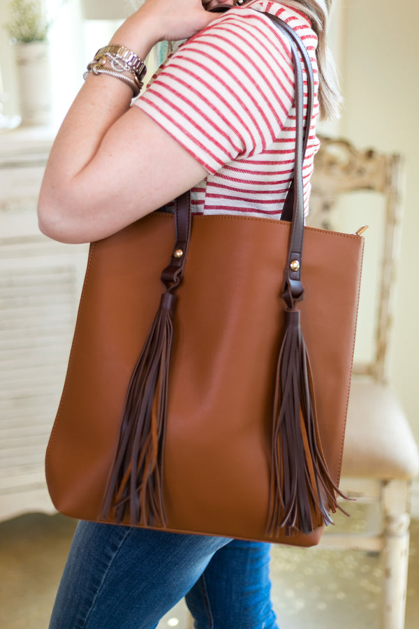 Going Everywhere Tote Bag with Fringe Tassels in Tan