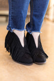 Boho Babe Fringe Booties in Black