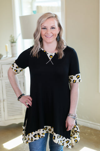 Whenever This Happens Tunic with Leopard Trim in Black