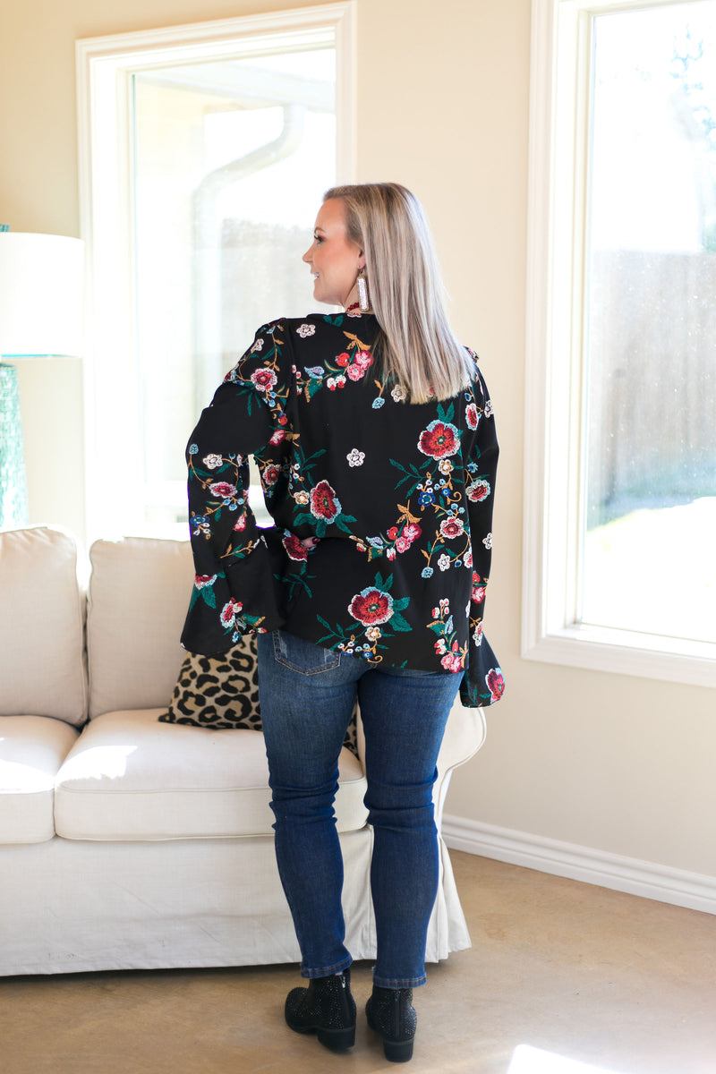 Bring It Here Floral Ruffle Blouse in Black
