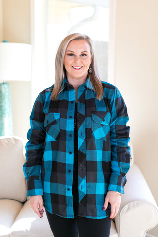 Small Town Love Plaid Flannel Button Up Shirt in Black and Turquoise