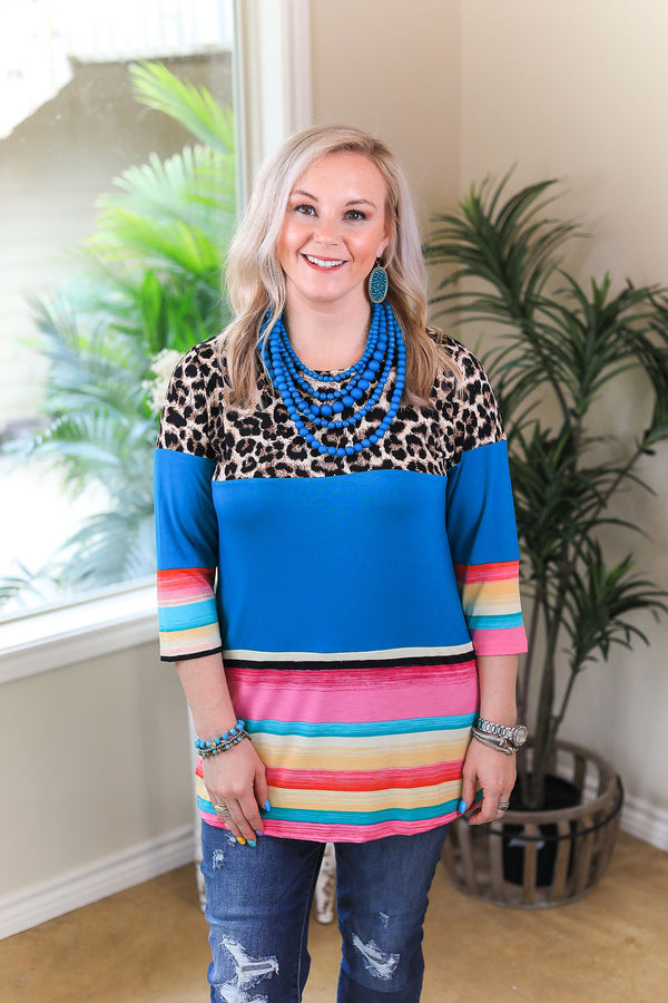New Rules 3/4 Sleeve Color Block Top in Leopard & Serape