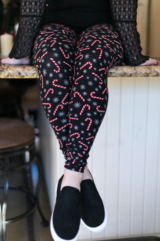 Candy Cane Crush Butter Soft Leggings in Black