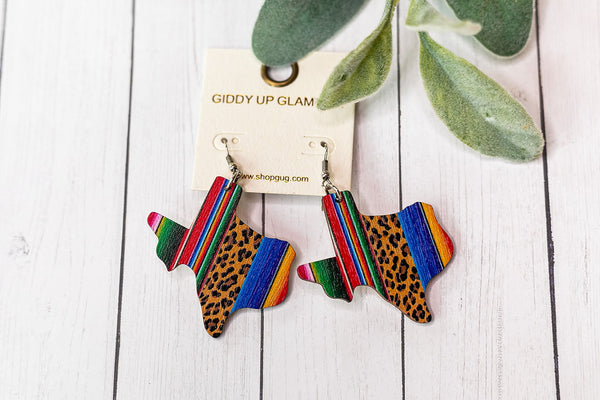 Wooden Texas Shaped Earrings in Leopard Serape
