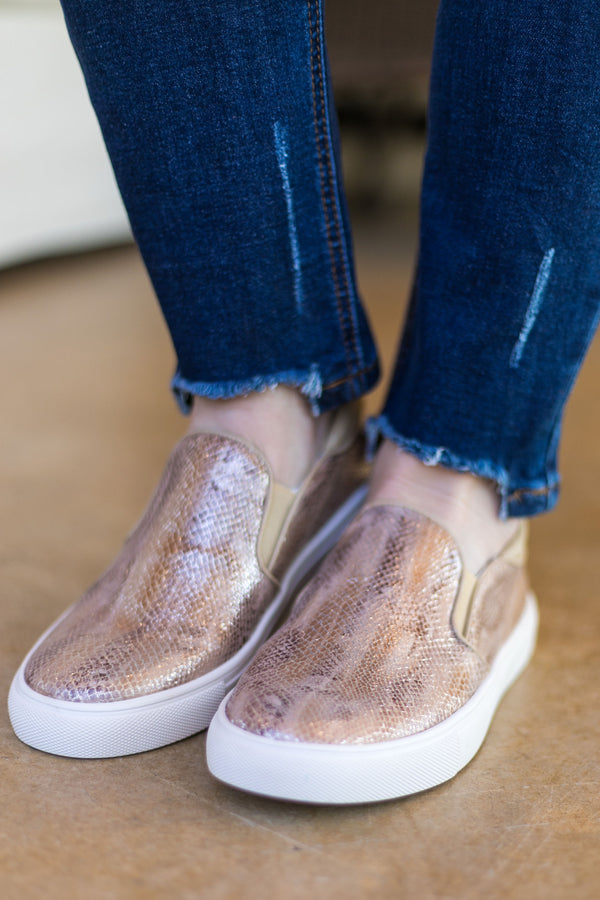 Seemingly Safe Shimmery Snakeskin Sneakers in Blush - SIZE 10 - FURTHER MARKDOWN!