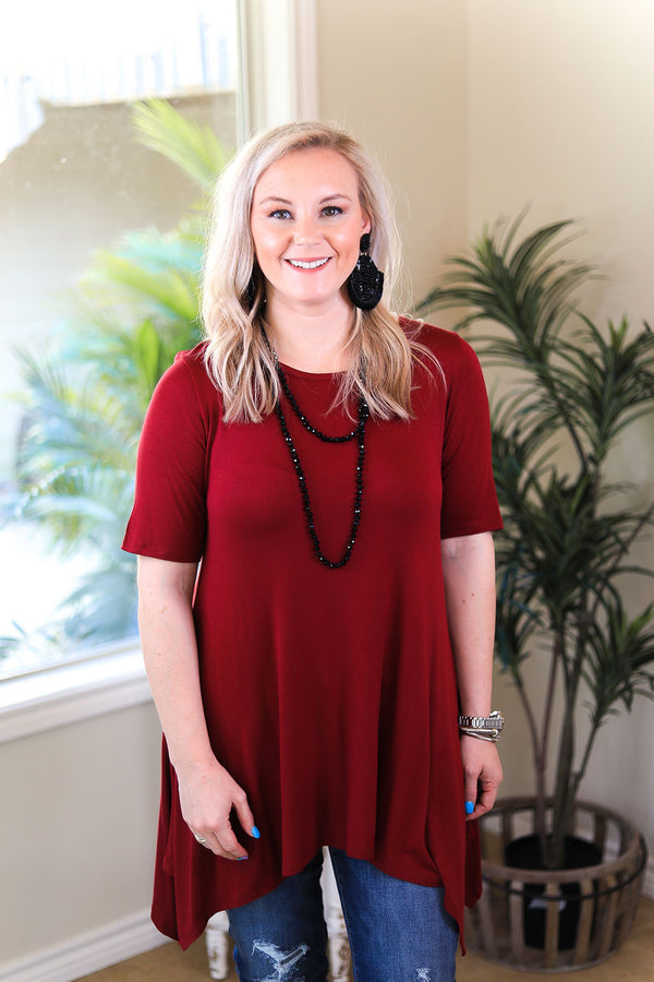 Whenever This Happens Solid Handkerchief Tunic Top in Maroon