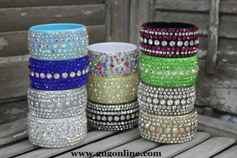 7 Row Crystal Bangle in Assorted Colors