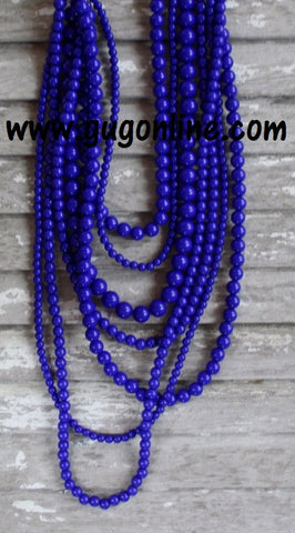 7 Strands of Royal Blue Beaded Necklace
