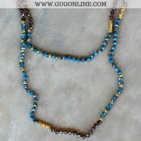 Long Turquoise and Brown Crystal Necklace with Gold Accents