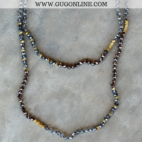 Long Grey and Brown Crystal Necklace with Gold Accents
