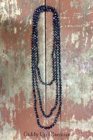 80 Inch Long Strand Crystal Necklace in Midnight Blue
