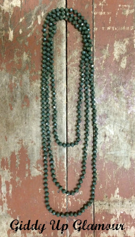 80 Inch Long Strand Crystal Necklace in Olive