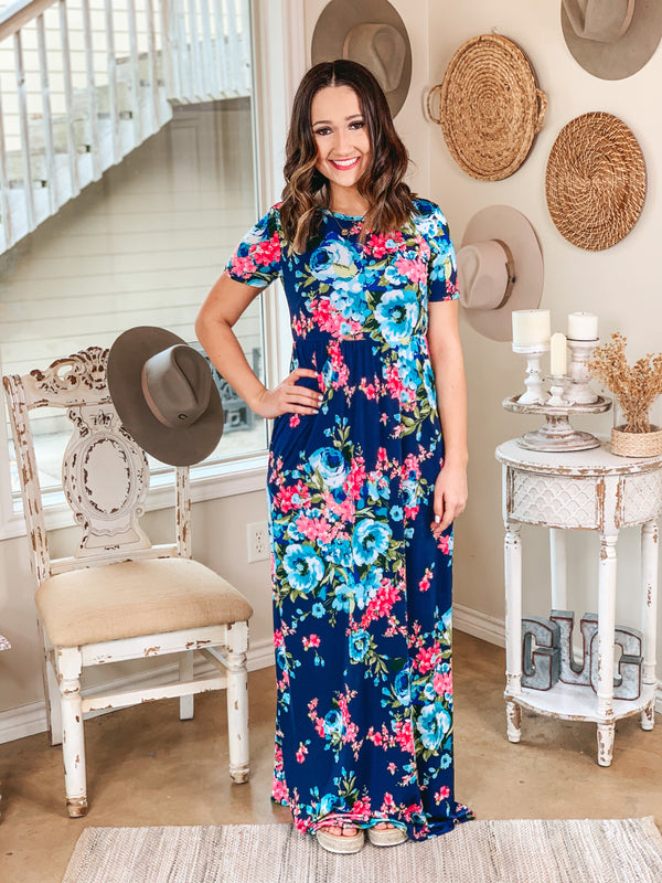 Sunsets In The Garden Floral Maxi Dress with Criss-Cross Back in Navy