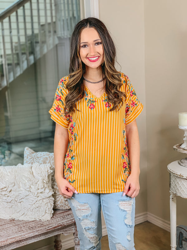Song of Spring Striped Short Sleeve Top with Floral Embroidery in Marigold Yellow